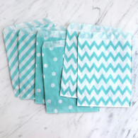 Baby Blue 13x18cm Treat Bags, Mixed Pattern - 6 Pack