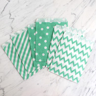Mint Green 13x18cm Treat Bags, Mixed Pattern - 6 Pack