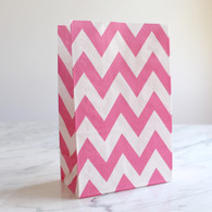 Candy Pink Chevron Stand-Up Treat Bags - Pack of 12