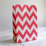 Strawberry Red Chevron Stand-Up Treat Bags - Pack of 12