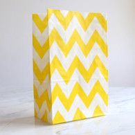 Lemon Yellow Chevron Stand-Up Treat Bags - Pack of 12