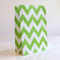 Lime Green Chevron Stand-Up Treat Bags - Pack of 12