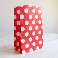 Strawberry Red Polka Dot Stand-Up Treat Bags - Pack of 12