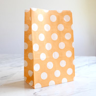 Peach Orange Polka Dot Stand-Up Treat Bags - Pack of 12