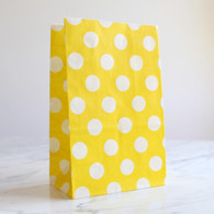 Lemon Yellow Polka Dot Stand-Up Treat Bags - Pack of 12