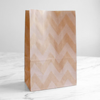 Kraft Chevron Stand-Up Treat Bags - Pack of 12