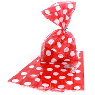 Red Polka Dot Cello Bags - Pack of 20