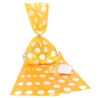 Yellow Polka Dot Cello Bags - Pack of 20