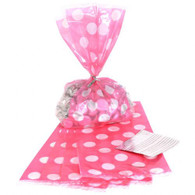 Pink Polka Dot Cello Bags - Pack of 20