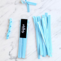 Gingham Check Twist Ties, Blue - Pack of 20