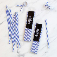 Stripe Twist Ties, Navy - Pack of 25