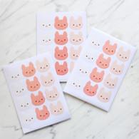Peach Bunny Stickers - 60 Stickers