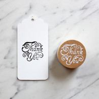 Decorative 4cm Round Wooden Rubber Stamp - Thank You