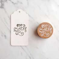 Decorative 4cm Round Wooden Rubber Stamp - Love