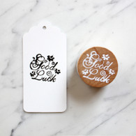 Decorative 4cm Round Wooden Rubber Stamp - Good Luck