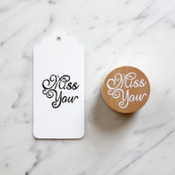 Decorative 4cm Round Wooden Rubber Stamp - Miss You