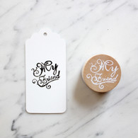 Decorative 4cm Round Wooden Rubber Stamp - My Friend
