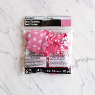 "Pink Polka Dot 12"" Balloons - Pack of 6"
