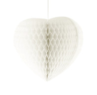 Small Heart Shaped Honeycomb 23 cm White