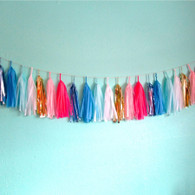 Studio Mucci Bubble-gum Blue Tassel Garland