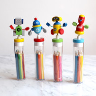 Robot Mini Colour Pencils & Sharpener in a Tube