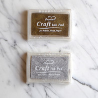 Oil Based Stamp Ink Pad, Gold or Silver