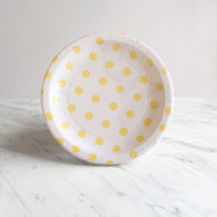 Sambellina White with Yellow Dots Cake Plates - Pack of 12