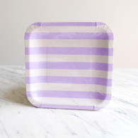 Sambellina Lavender Stripe Square Plates - Pack of 12