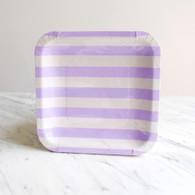 Sambellina Lavender Stripe Square Plates - Pack of 12