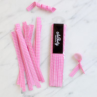 Gingham Check Twist Ties, Pink - Pack of 20