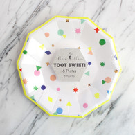 Meri Meri Toot Sweet Neon Confetti Charms Cake Plates - Pack of 8