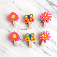 Pink Wooden Magnetic Pegs -Pack of 6
