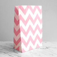 Baby Pink Chevron Stand-Up Treat Bags - Pack of 12
