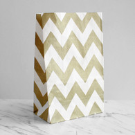 Gold Chevron Stand-Up Treat Bags - Pack of 12