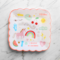Meri Meri Toot Sweet Rainbow & Unicorn Plates - Pack of 8