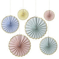 Meri Meri Toot Sweet Pastel & Gold Pinwheel Decorations - Pack of 6