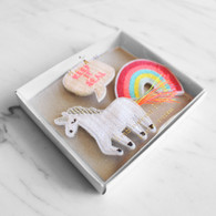 Meri Meri Toot Sweet Rainbow & Unicorn Embroidered Brooches - Pack of 3