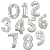 "38"" Giant Silver Foil Number Balloon, Choose Your Number, Pack of 1"