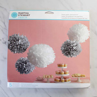 Martha Stewart Silver & White Pom Pom Set - Pack of 5
