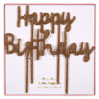 Meri Meri Happy Birthday Glitter Gold Acrylic Cake Toppers - Pack of 2