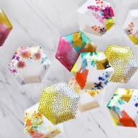 Fluorescent Hexagonal Paper Plates, 6 Designs - Pack of 12