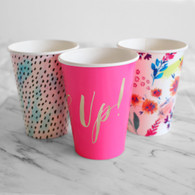 Talking Tables Fluorescent Big Party Cups, 3 Designs - Pack of 12