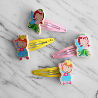 Wooden Princess & Fairy Hair Clips - 2 Pairs (4 Clips)