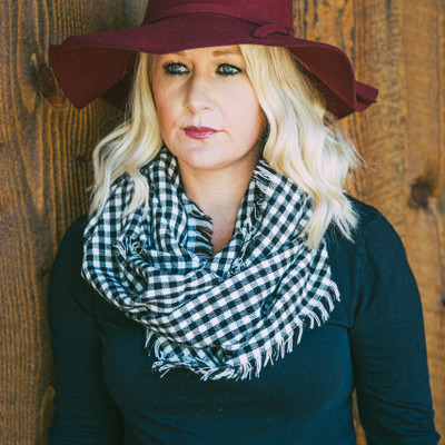 Plaid Infinity Scarf - Black/White Check