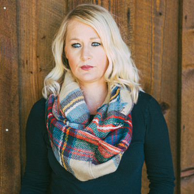 Plaid Infinity Scarf - Holiday Red