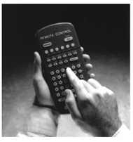 A Remote Control is a hand-held keyboard used to operate an Alpha sign. From its front, a Remote Control emits an infrared light which controls many of the functions of an Alpha sign. A Remote Control needs four AAA batteries to operate.
