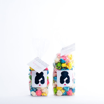 MINI BAG ON LEFT (1 CUP)   SMALL BAG ON RIGHT (1.5 CUPS)  The Alice + Olivia STACEFACE Customized Mini Hotpoppin Bag was created for an event for Stacey Bendet!