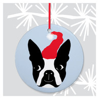 Boston Terrier Santa Ornament