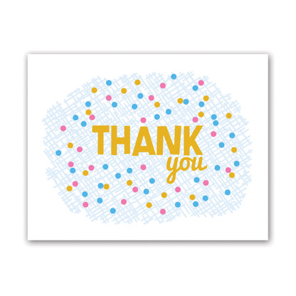 Crosshatch Dots Thank You Card by Rock Scissor Paper