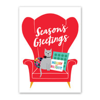 Cat Wing Chair Holiday Card